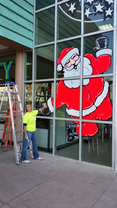holiday window painting